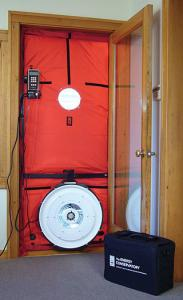 The Blower Door Test equipment is used to detect improperly sealed windows and doors. Murray Insulation, Parkville, MO installs insulation to increase the energy efficiency of a home. Coupled with making sure there are no air leaks i the home, this can save you money on energy costs.